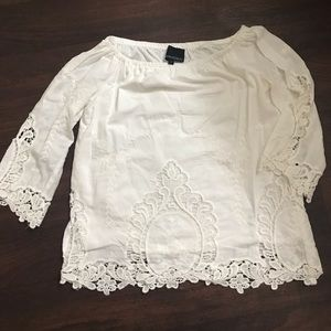Size small white lace summer blouse Cynthia Rowley